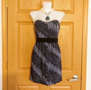 Silence + Noise Purple & Black Strapless Dress